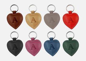 Custom heart leather key rings
