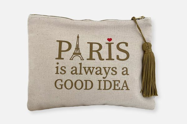 Custom cotton pouch with tassel ,Trousse en coton personnalisée