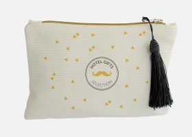 Custom natural canvas pouch with tassel