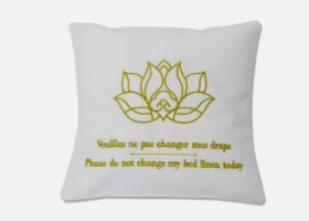 Embroidered pillow, lavender pillow