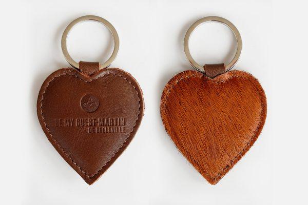 Custom cowhide key rings-Porte-clés en cuir et peau de vache