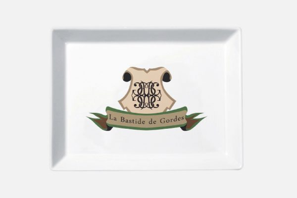 Personalized rectangular tray - Plateau rectangulaire en porcelaine