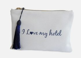 Custom canvas pouch or makeup bag ,Trousse en coton personnalisée
