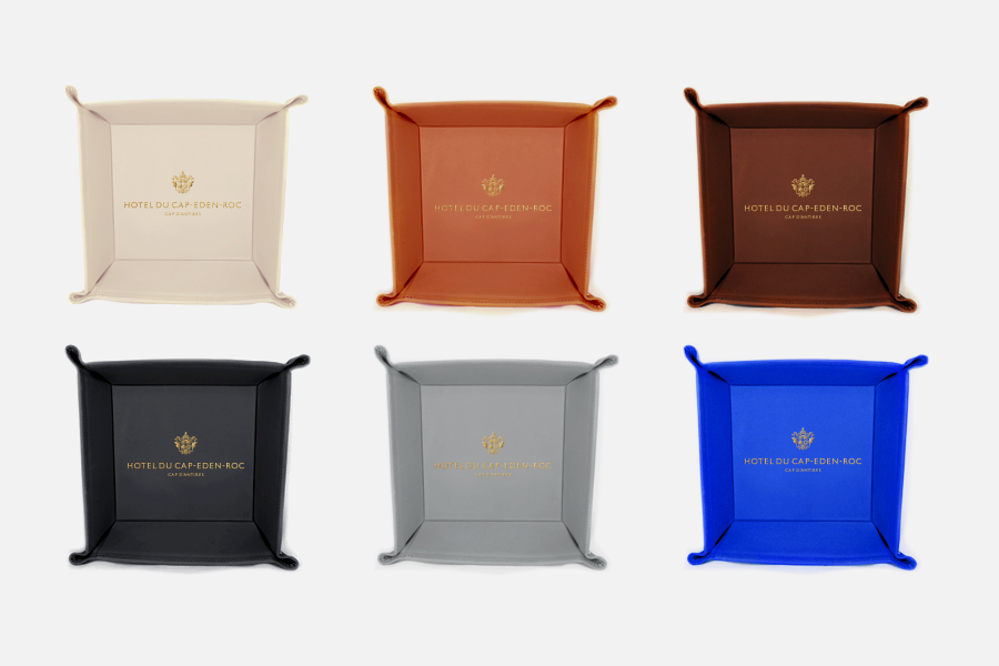 Personalized hotel leather tray ,Vide-poche en cuir personnalisable