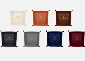 Personalized hotel leather tray