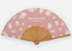 Custom printed wooden and fabric handfans