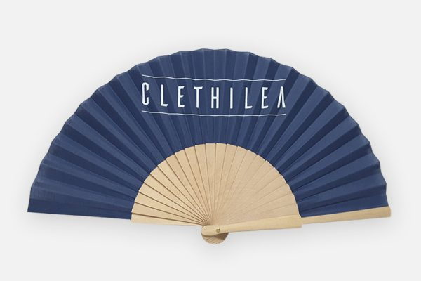 Éventail personnalisé en bois et coton, Custom printed wooden and fabric handfans