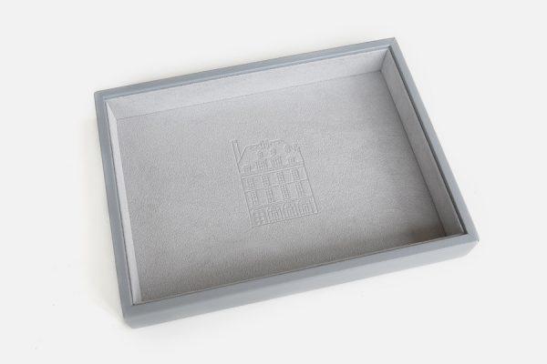 Plateau à bijoux personnalisé en simili cuir,bespoke faux leather jewellery tray