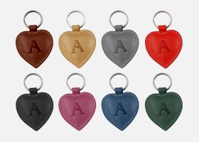 Custom heart leather key rings