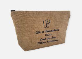 Custom jute pouch or cosmetic bag