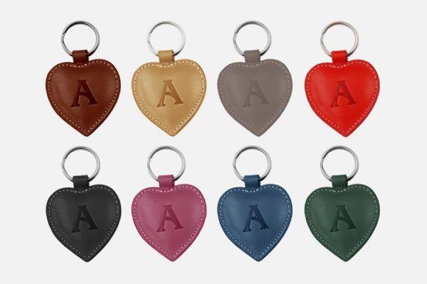 Custom heart leather key rings,Porte-clés cœur personnalisés en cuir
