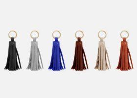 Pustom tassel leather key rings,orte-clés pompons en cuir personnalisés