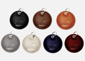 Luxury custom round leather key rings