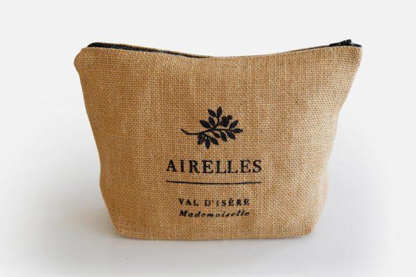 custom jute pouch or cosmetic bag,trousse en jute personnalisée