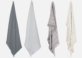 Serviette en nid d'abeille stone washed personnalisable