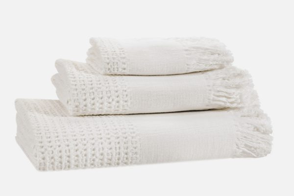 Serviette en nid d'abeille stone washed personnalisable, personalised stone washed waffle knit towel