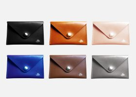 custom leather envelope card holder;porte-cartes enveloppe en cuir personnalisé