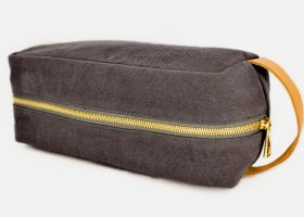 Custom canvas and leather toiletry bags