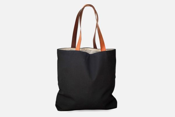 Canvas tote with leather handles, Tote bag avec anses en cuir