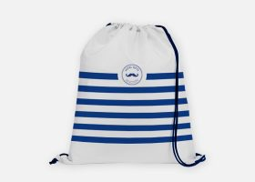 Custom striped cotton drawstring bag