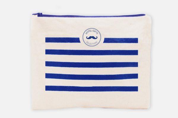 tcustom blue navy striped cotton pouch, rousse à rayures marinières bleues personnalisée