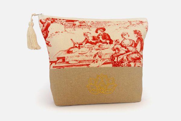 Cotton and linen cosmetic bags Trousse de toilette bi-matière brodée