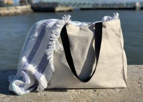 Custom cotton canvas beach bag