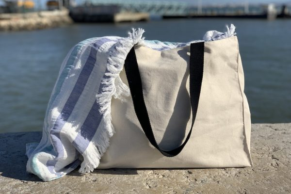 Custom cotton canvas beach bag,;Cabas de plage en coton personnalisé