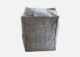 Cale-porte cubique en tissu brodé
