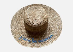 Embroidered wide brim canotier