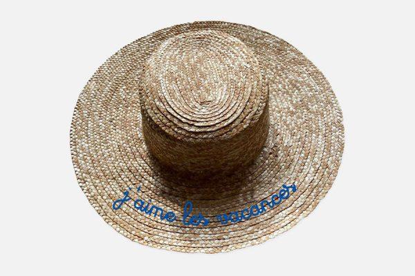 Embroidered wide brim canotier;Canotier à large bord brodé,