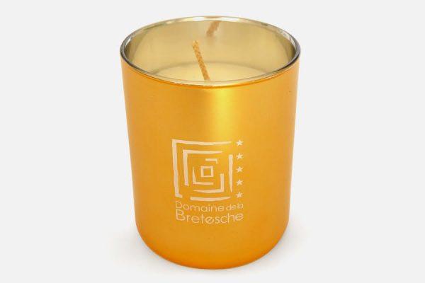 Scented candle in gold metal glass;bougie personnalisée métallisée dorée