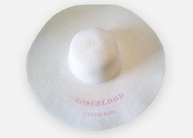 Embroidered wide brim straw hat