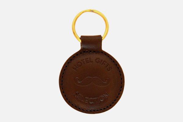 Custom round leather key rings;Porte-clés rond personnalisés en cuir
