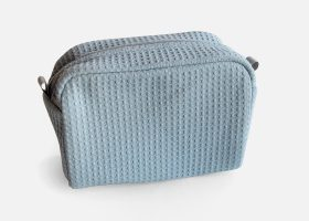 Trousse nid d'abeille brodée;Embroidered waffle cosmetic bags