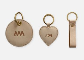 Custom vegtan leather keyrings