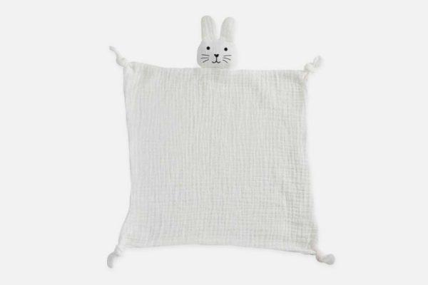 Organic cotton bunny comforter;Doudou lapin en coton bio personnalisé