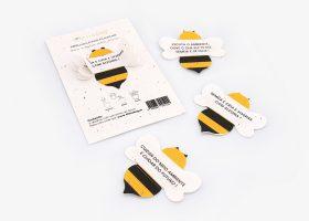 Set of 3 custom plantable bees; Set de 3 abeilles à planter